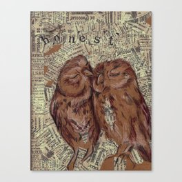 Honest Owl Couple Canvas Print