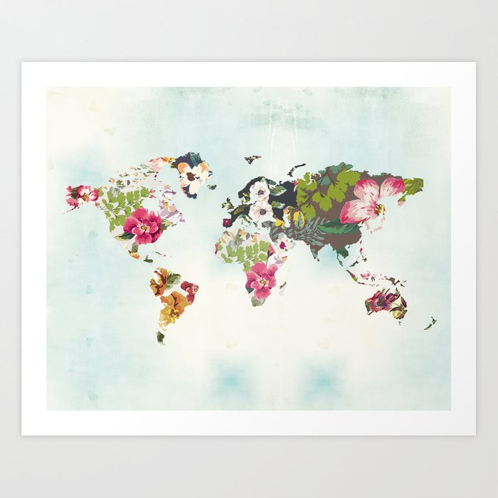 World map art print poster tropical home decor floral teal blue world map art print poster tropical home decor floral teal blue art gumiabroncs Image collections
