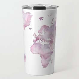 Lavander and pink watercolor world map Travel Mug