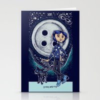 coraline Stationery Cards featuring Coraline Strength Tarot Card Color by Corinne Elyse