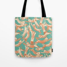 cat party jade orange Tote Bag