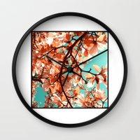magnolia Wall Clocks featuring magnolia by blackpool