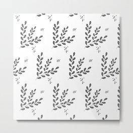 Herbal outline pattern Metal Print