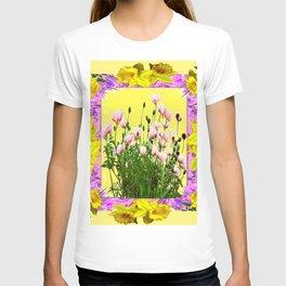 YELLOW DAFFODILS FLOWER GARDEN & PINK POPPIES DESIGN T-shirt