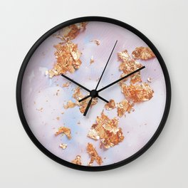 Rose Gold Crumbs on Abstract Watercolor Wall Clock