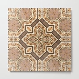 Victorian Art Deco Medieval Pattern light brown SB31 Metal Print