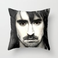 lee pace Throw Pillows featuring Pace Lee in watercolors by Fatima Alshaali