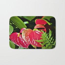 Red Anthurium Tropical Valentine Shaped Plant Bath Mat