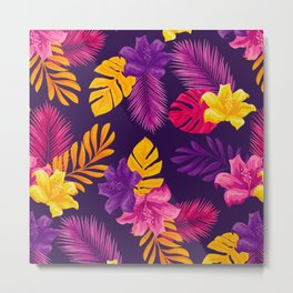 purple yellow leaves and flowers Metal Print
