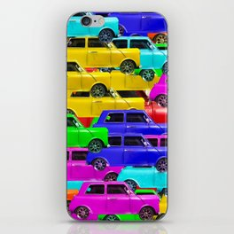 vintage car toy pattern background in yellow blue pink green orange iPhone Skin