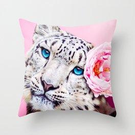 Peony Snow Leopard Throw Pillow