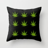 weed Throw Pillows featuring Weed by Spyck