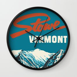 Stowe, Vermont Vintage Ski Poster Wall Clock