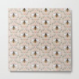 Folk Bee Pattern on Stone Metal Print