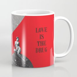 Full Moon Love Quote Retro Vintage Nude Woman Love is the drug Rock Music Song Lyrics Coffee Mug