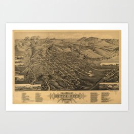 Vintage Pictorial Map of Butte Montana (1884) Art Print