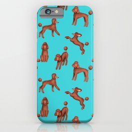 Chocolate Poodles Pattern  (Turquoise Background) iPhone Case