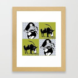 Kimmie with Pig yellow Framed Art Print