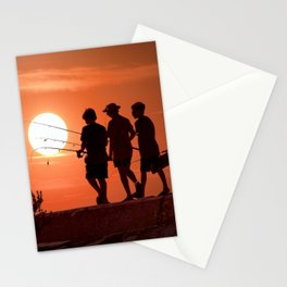 Three Boys Gone Fishing at Sunset Stationery Cards