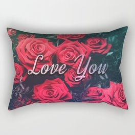 Love You & Red Roses Rectangular Pillow
