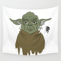 yoda Wall Tapestries featuring YODA by Art of Bianca