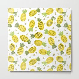 Pineapple Repeat Metal Print