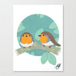 European Robins Canvas Print