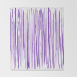Purple watercolor striped pattern Throw Blanket