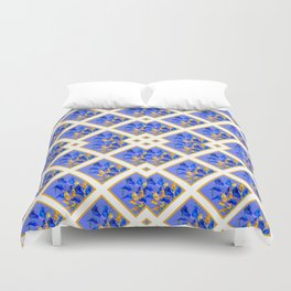 ABSTRACTED BLUE & GOLD PATTERN  CALLA LILIES  DESIGN Duvet Cover