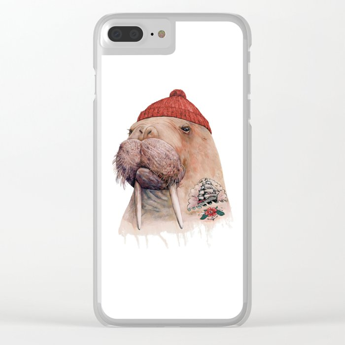 Tattooed walrus Clear iPhone Case