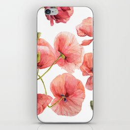 Red Poppies Bright Sunlight, Big Beautiful Red Flowers iPhone Skin
