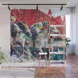 Abstract Race Horses Collage                                         Wall Mural