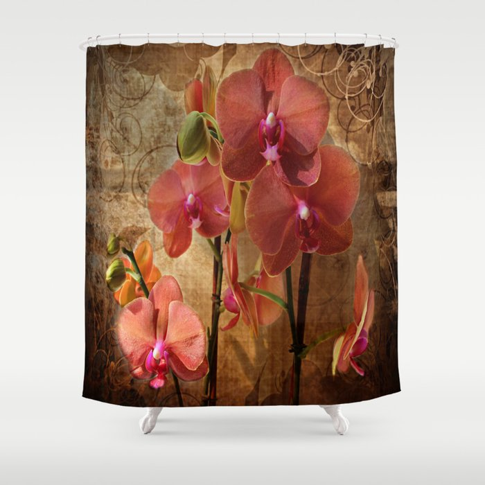 Vintage Burnt Orange Orchid Shower Curtain By Judypalkimas