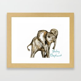 Baby Elephant Blue Framed Art Print