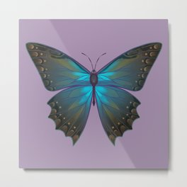 Morpho Theseus With Lilac Metal Print