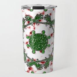 Green Red and Silver Alien Mandala Pattern Travel Mug