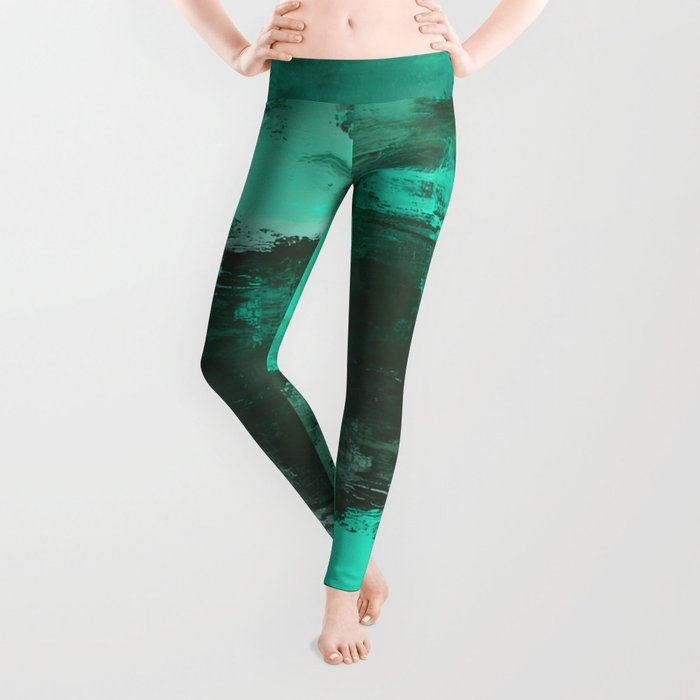 Chill Factor - Abstract cyan blue painting Leggings