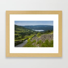 'The Struggle' name of road to Ambleside with Windermere beyond. Lake District, Cumbria, UK Framed Art Print