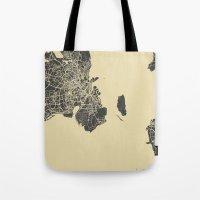 copenhagen Tote Bags featuring Copenhagen map by Map Map Maps
