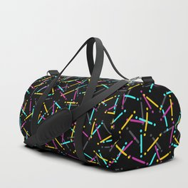 Tish 3: 80s colorful confetti pattern over black Duffle Bag