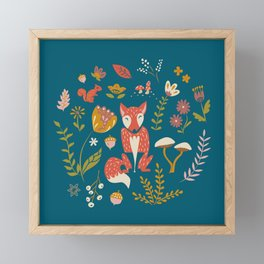 Fall Fox on Blue Framed Mini Art Print