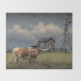 Longhorn Steer in a Prairie pasture by 1880 Town with Windmill and Old Gray Wooden Barn Throw Blanket