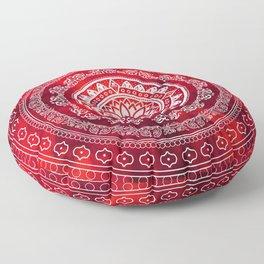 'Scarlet Destiny' Red & White Flower Of Life Boho Mandala Design Floor Pillow