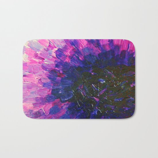 VACANCY - LIMITLESS Bold Eggplant Plum Purple Abstract Acrylic Painting Floral Macro Colorful Void Bath Mat