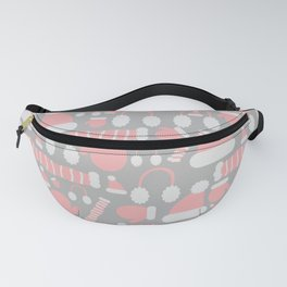 Cute minimalist Christmas clothing pattern of hat, scarf, earmuff, and glove, in grey and red Fanny Pack