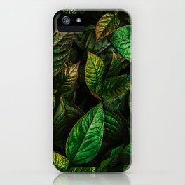 Golden Green Leaves iPhone Case