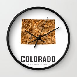 Colorado - State Map Art - Abstract Map - Brown Wall Clock