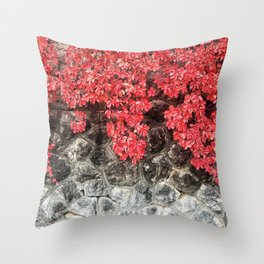 Pink red ivy leaves autumn stone wall Throw Pillow