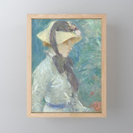Young Woman with a Straw Hat Framed Mini Art Print