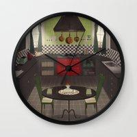 kitchen Wall Clocks featuring Kitchen by Fran Court